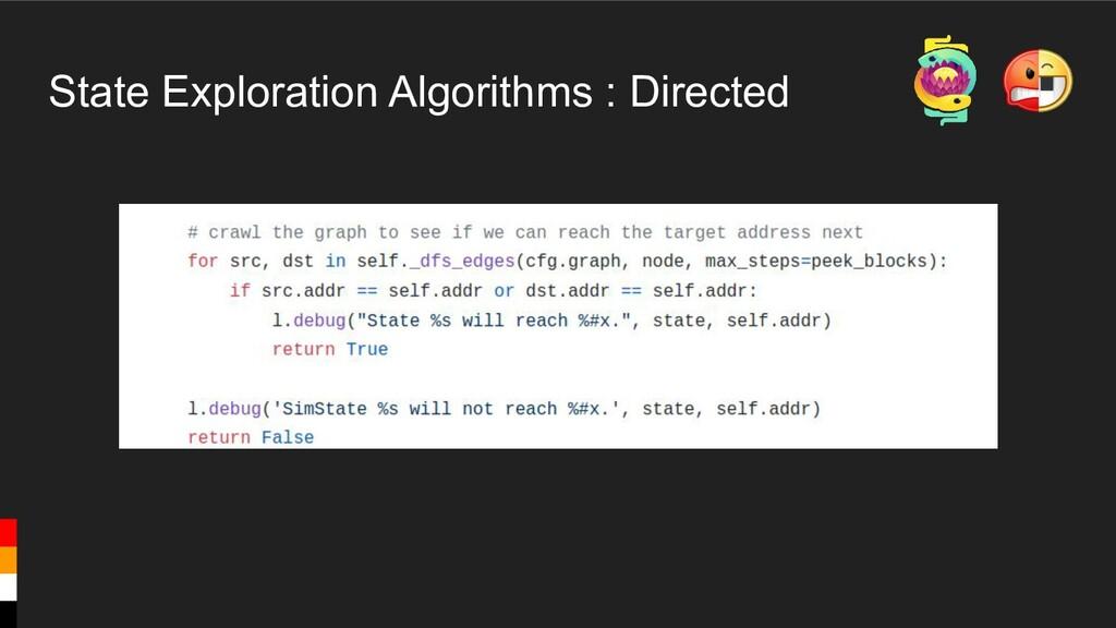 State Exploration Algorithms : Directed