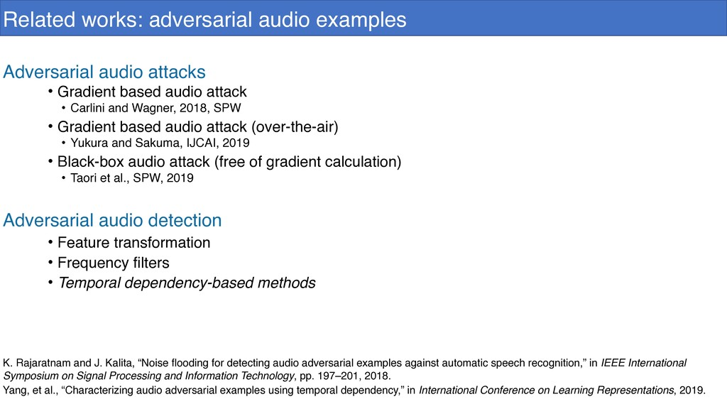 Related works: adversarial audio examples Adver...
