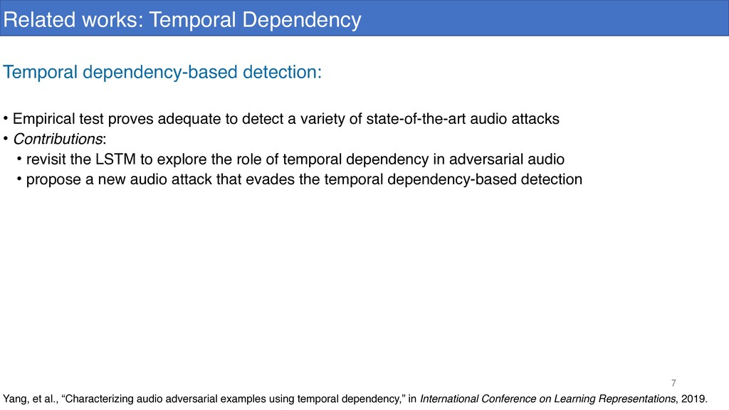 7 Related works: Temporal Dependency Yang, et a...