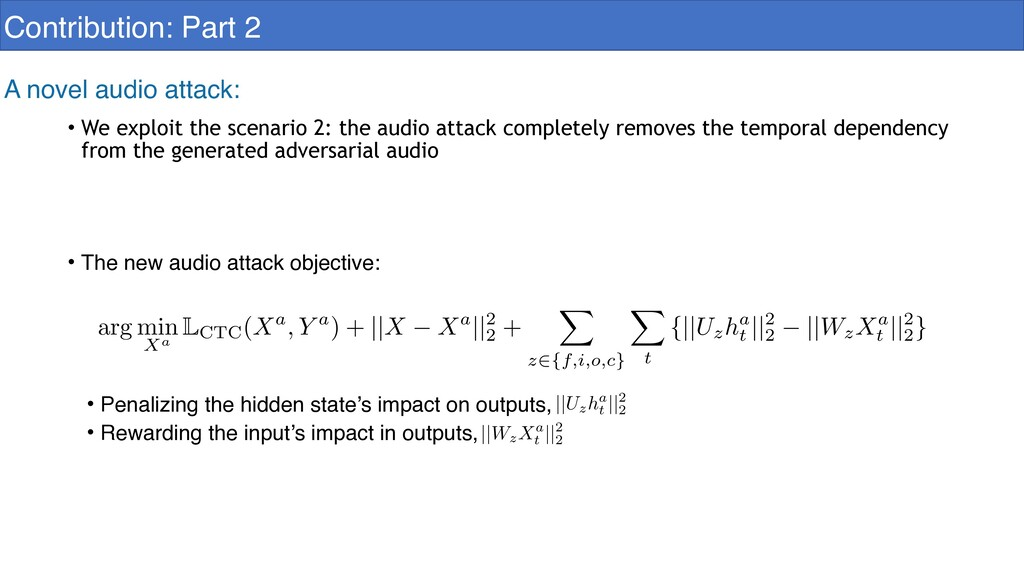 Contribution: Part 2 A novel audio attack: • We...