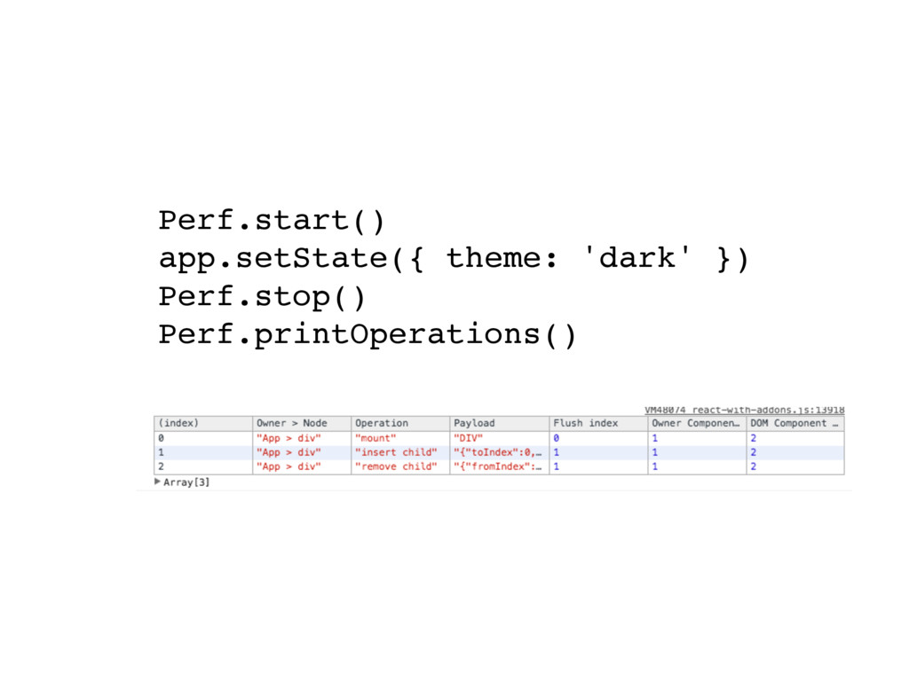 Perf.start() app.setState({ theme: 'dark' }) Pe...