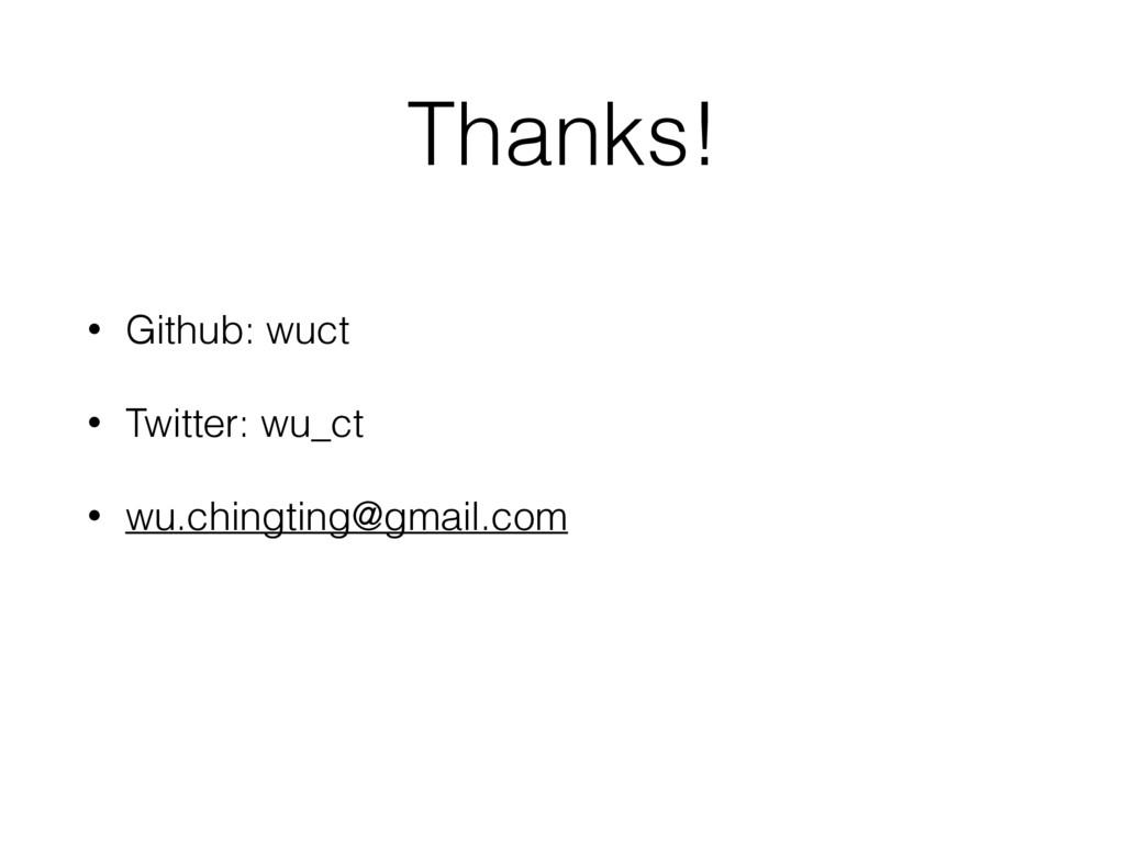 Thanks! • Github: wuct • Twitter: wu_ct • wu.ch...