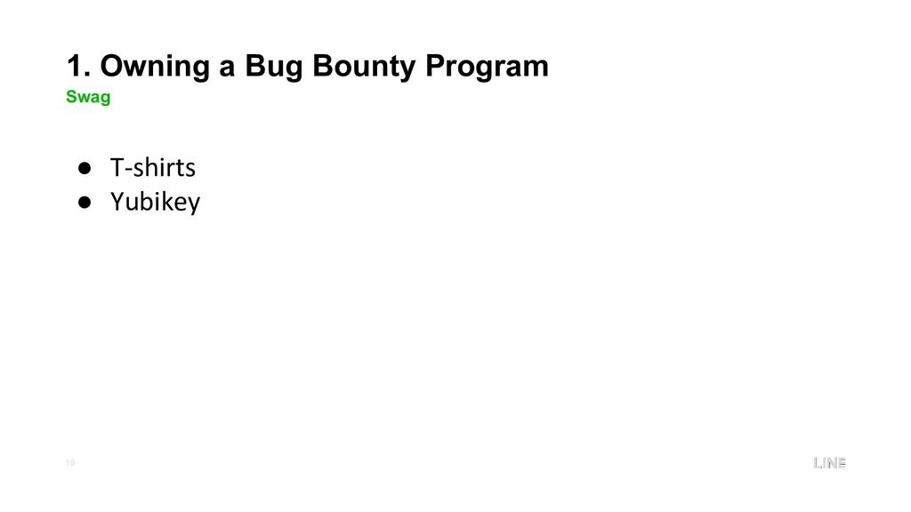 19 1. Owning a Bug Bounty Program Swag ● T-shir...