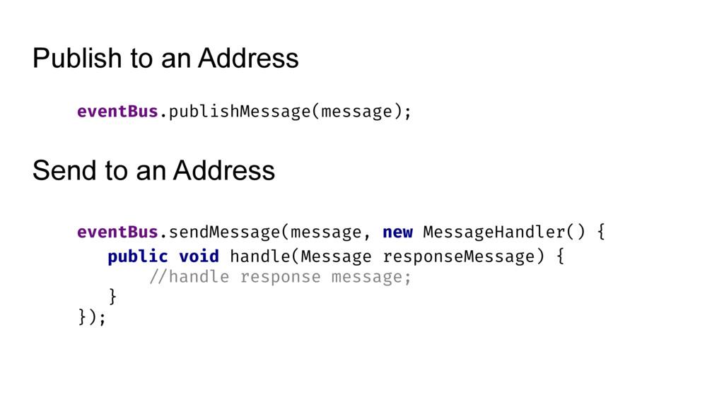 Publish to an Address eventBus.publishMessage(m...