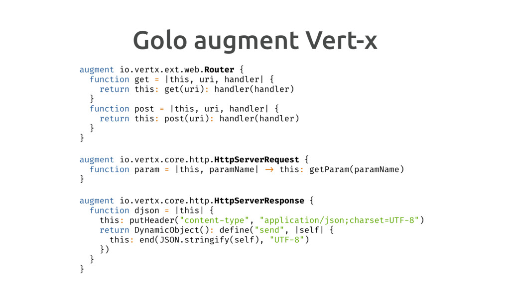 Golo augment Vert-x augment io.vertx.ext.web.Ro...