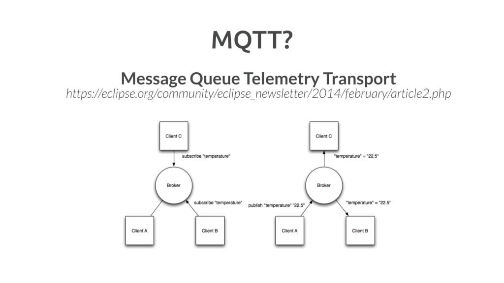 MQTT? Message Queue Telemetry Transport https:/...