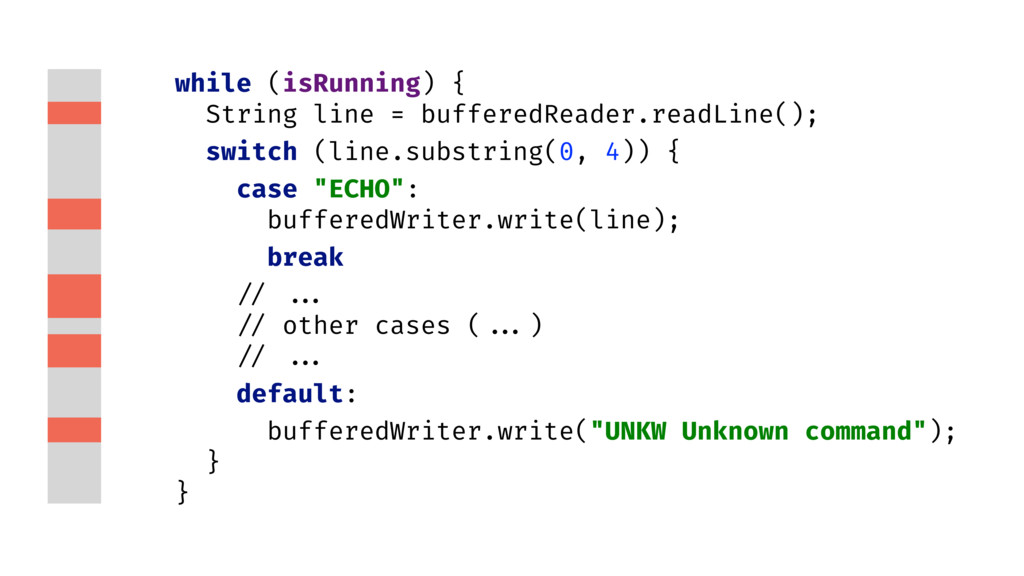 while (isRunning) { String line = bufferedReade...
