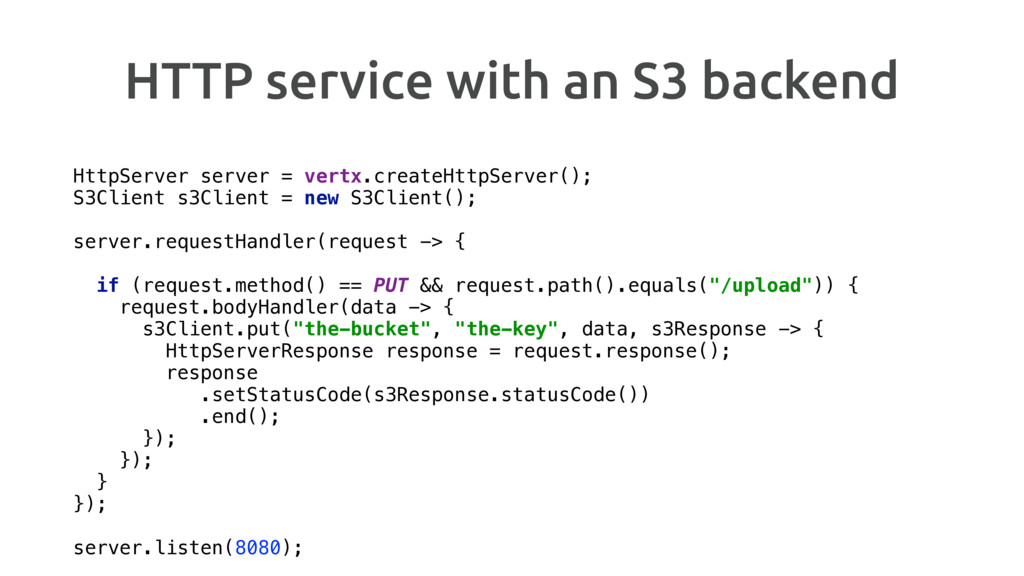 HTTP service with an S3 backend HttpServer serv...
