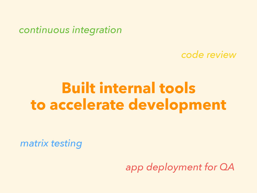Built internal tools to accelerate development ...