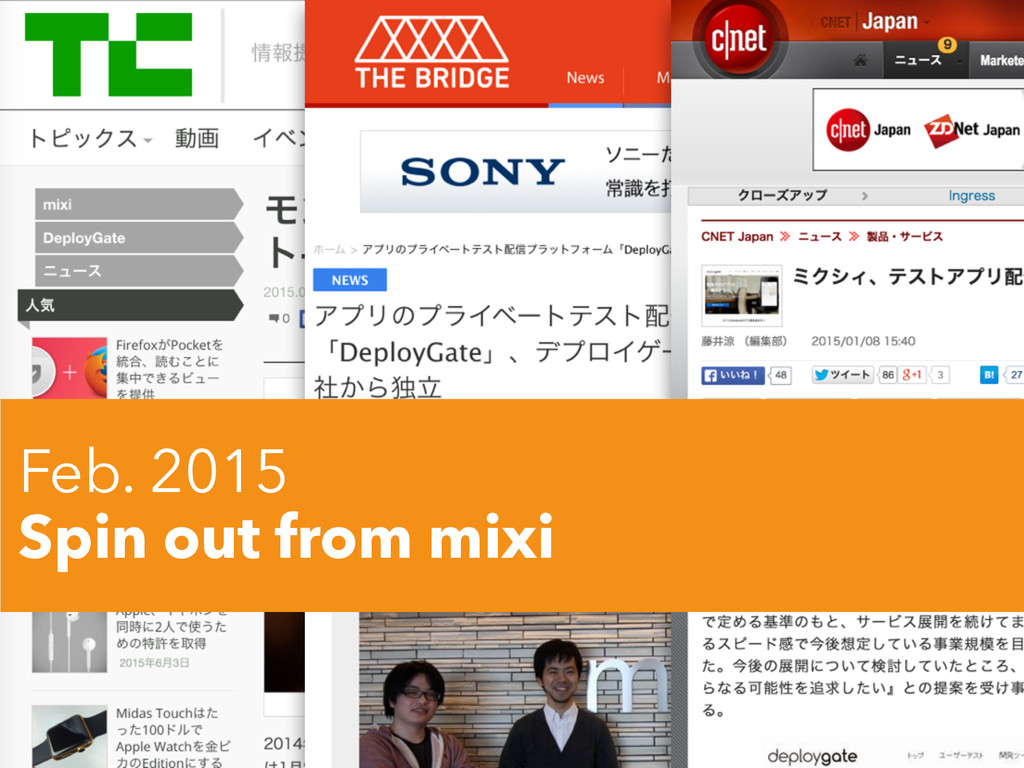 Feb. 2015 Spin out from mixi