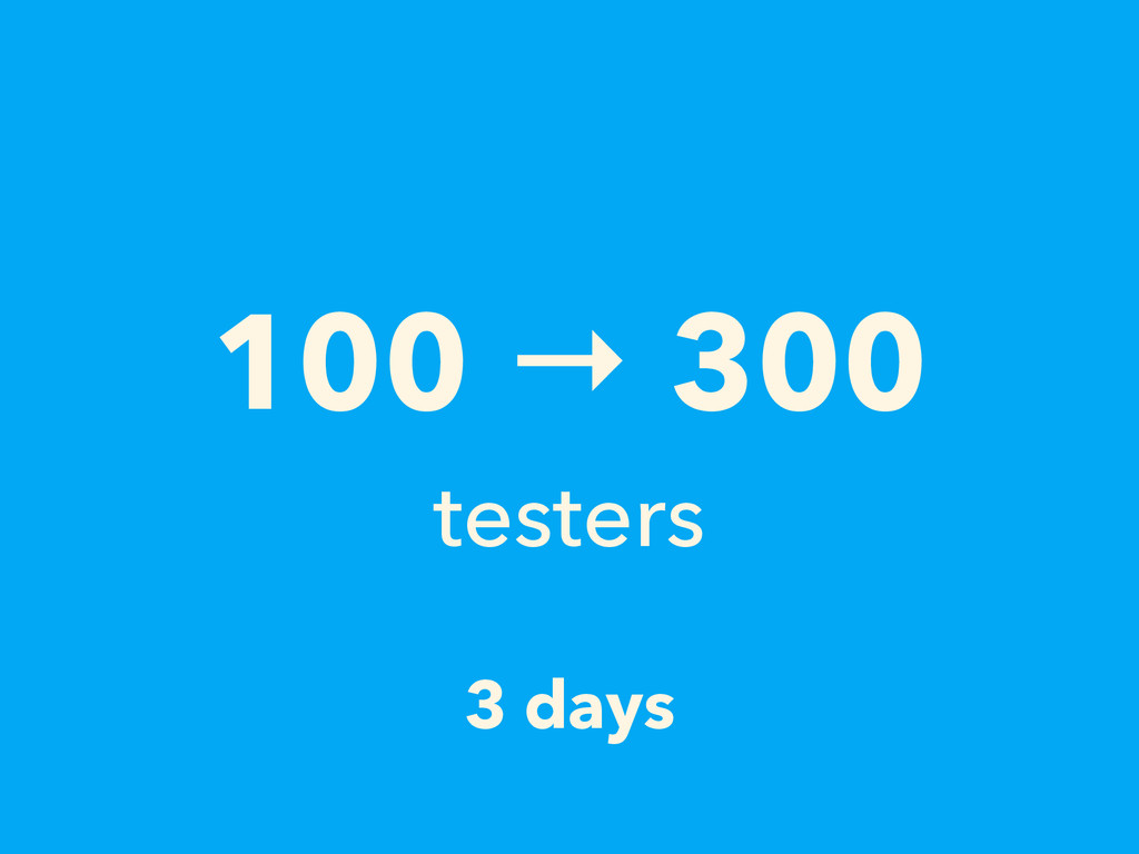 3 days 100 → 300 testers