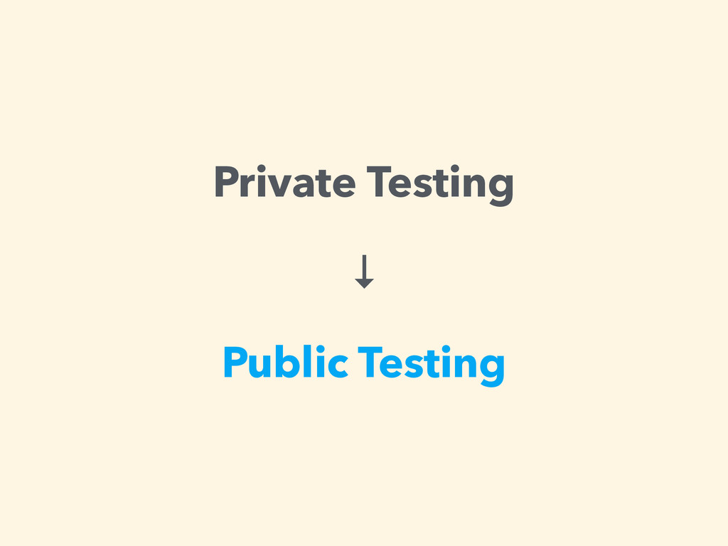 Private Testing ↓ Public Testing