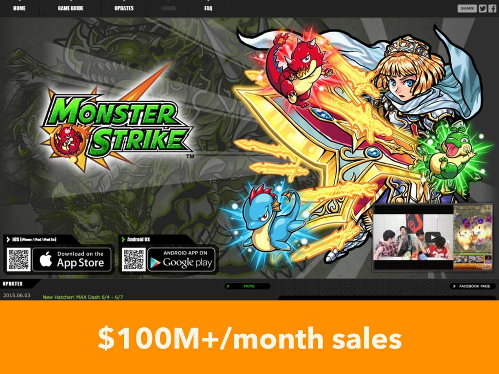 $100M+/month sales