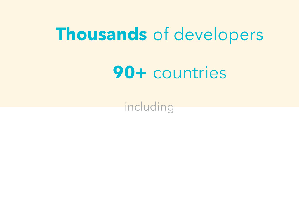 Thousands 90+ of developers countries including