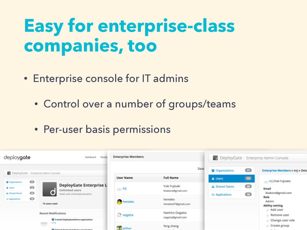 Easy for enterprise-class companies, too • Ente...