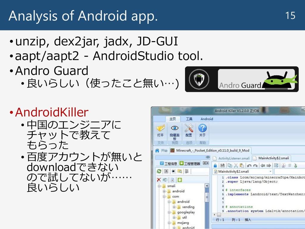 Analysis of Android app. •unzip, dex2jar, jadx,...