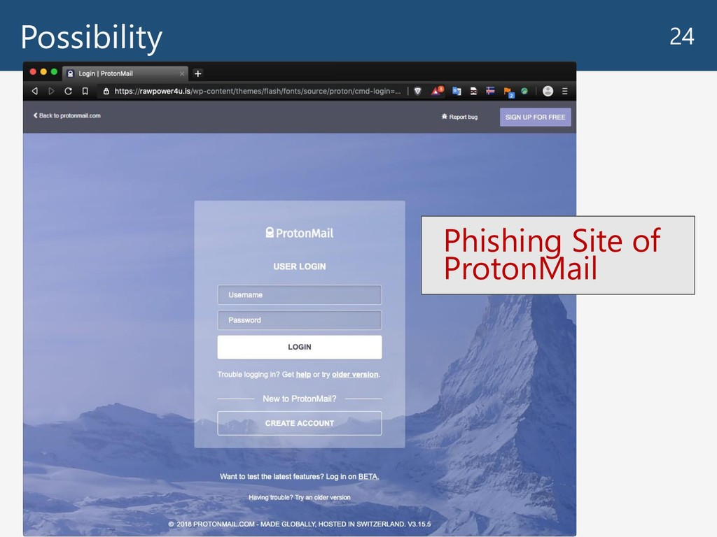 Possibility 24 Phishing Site of ProtonMail
