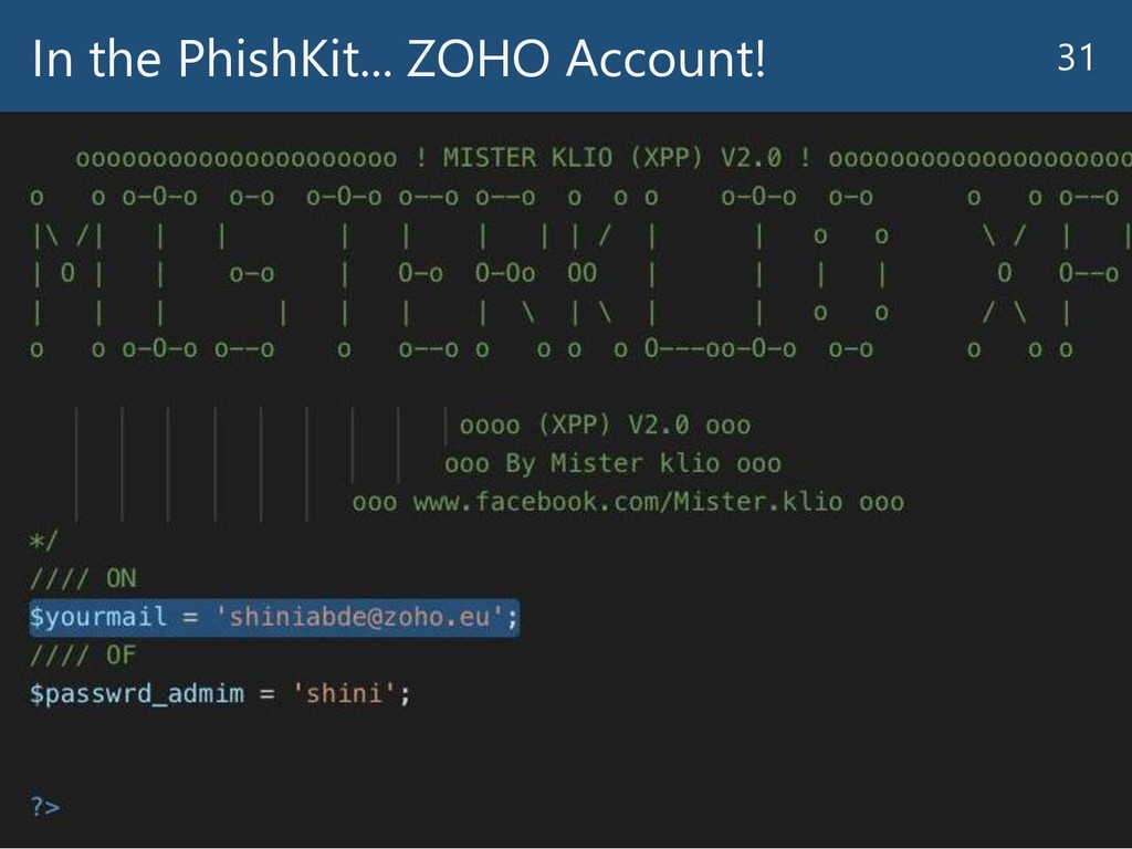 In the PhishKit... ZOHO Account! 31
