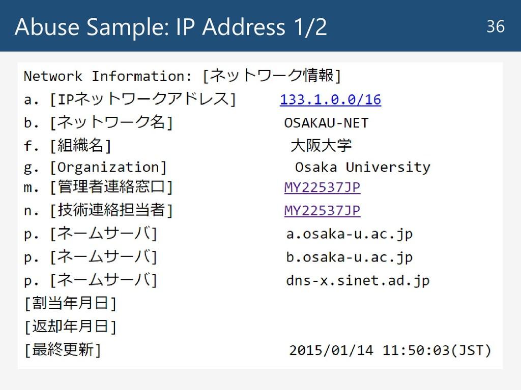 Abuse Sample: IP Address 1/2 36