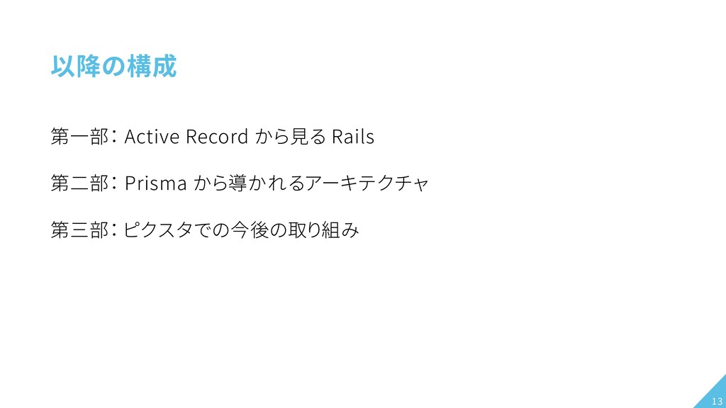 以降の構成 第一部: Active Record から見る Rails 第二部: Prisma...