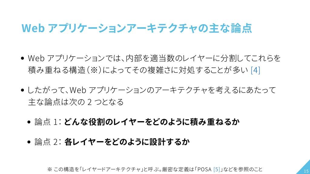 Web アプリケーションアーキテクチャの主な論点 Web アプリケーションでは、内部を適当数の...