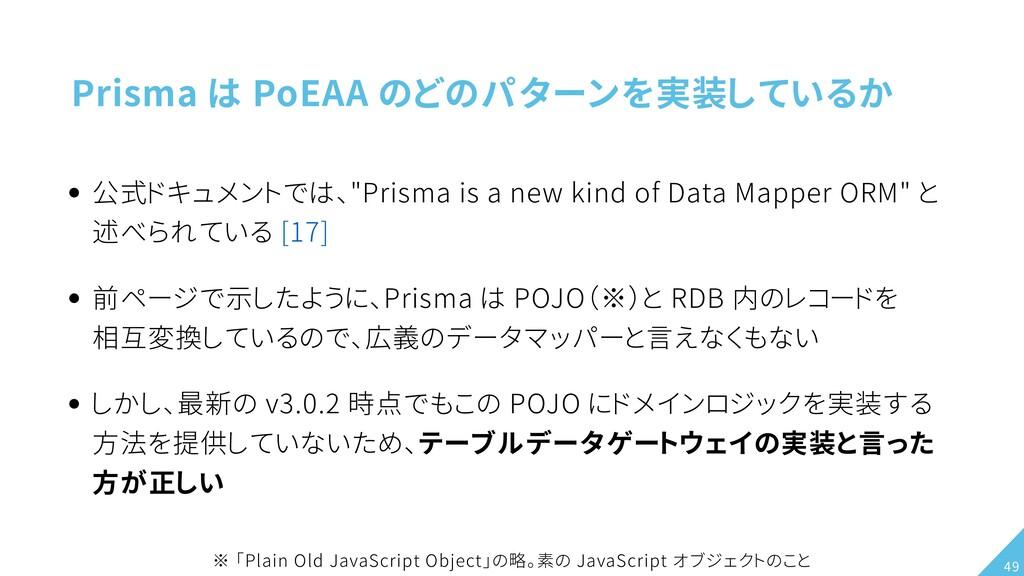 "Prisma は PoEAA のどのパターンを実装しているか 公式ドキュメントでは、""Pris..."