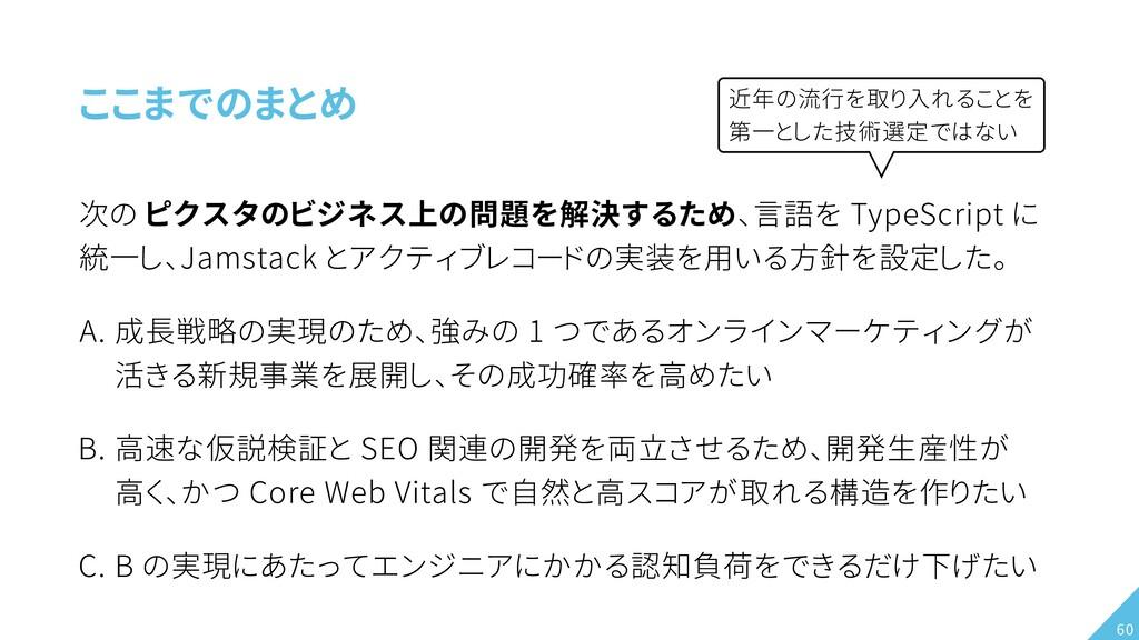 ここまでのまとめ 次の ピクスタのビジネス上の問題を解決するため、言語を TypeScript...