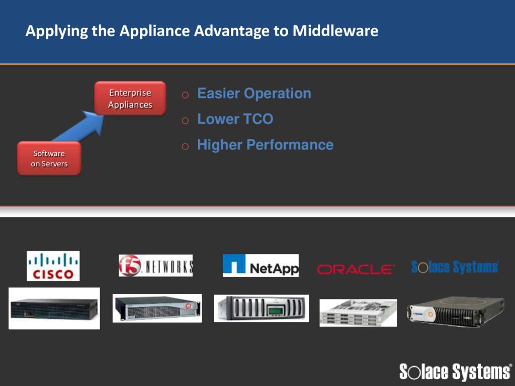 Software on Servers Enterprise Appliances o Eas...