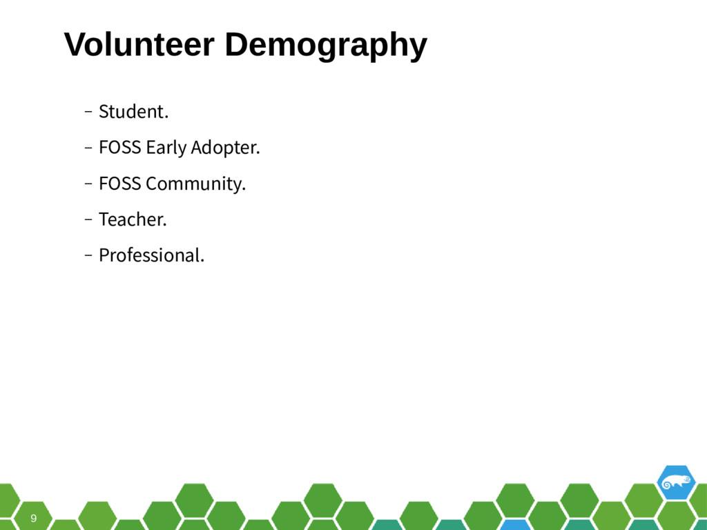 9 ‒ Student. ‒ FOSS Early Adopter. ‒ FOSS Commu...