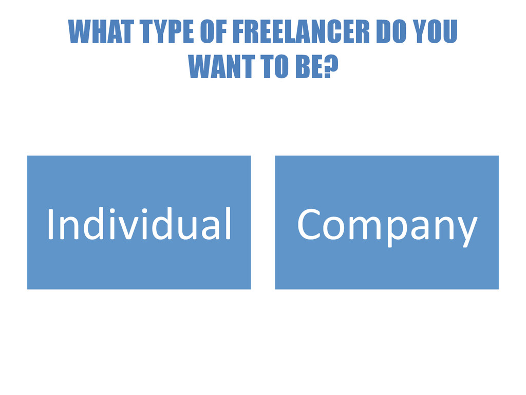WHAT TYPE OF FREELANCER DO YOU WANT TO BE? Indi...