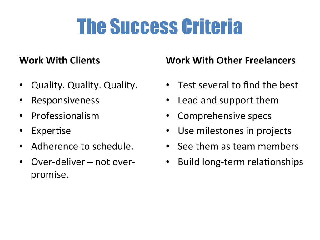 The Success Criteria Work With Clients ...