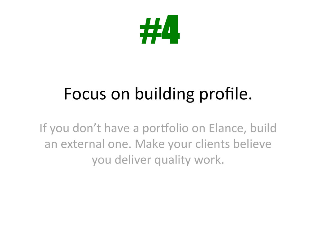 Focus on building profile.    If...