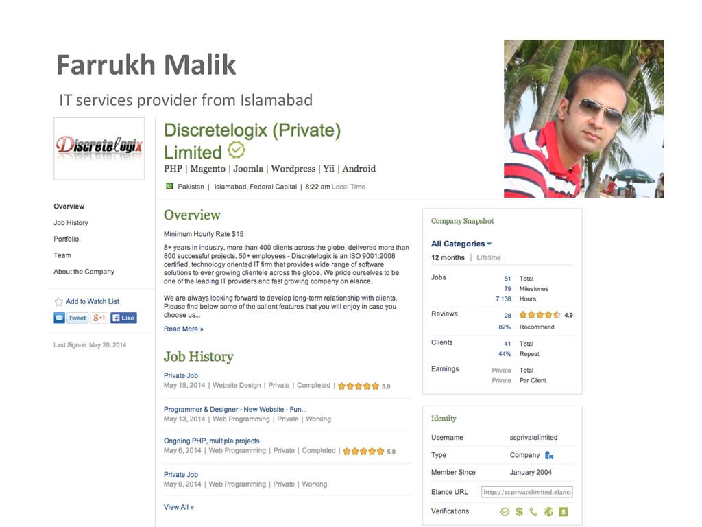 Farrukh Malik  IT services provider...