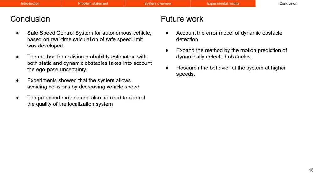 ● Safe Speed Control System for autonomous vehi...