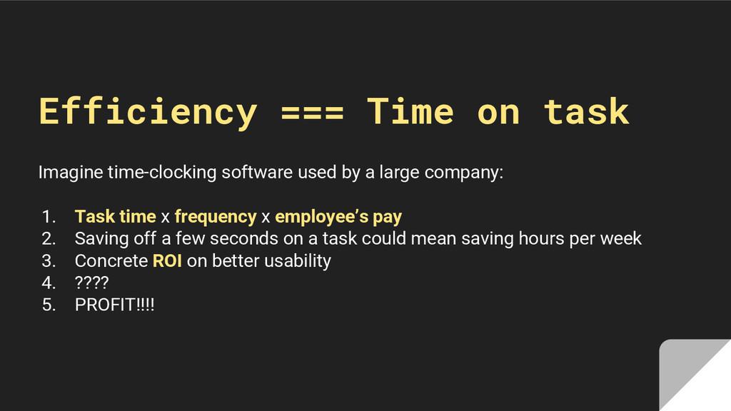 Efficiency === Time on task Imagine time-clocki...
