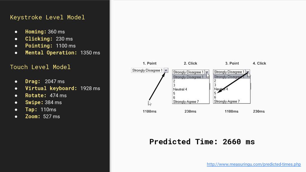Keystroke Level Model ● Homing: 360 ms ● Clicki...