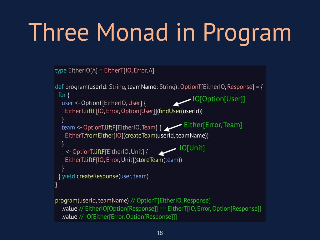 Three Monad in Program 18 type EitherIO[A] = Ei...