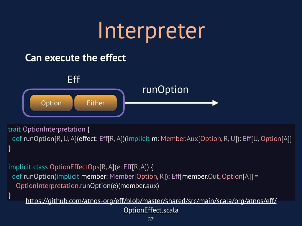 Interpreter 37 trait OptionInterpretation { def...