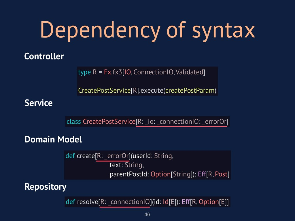Dependency of syntax 46 type R = Fx.fx3[IO, Con...