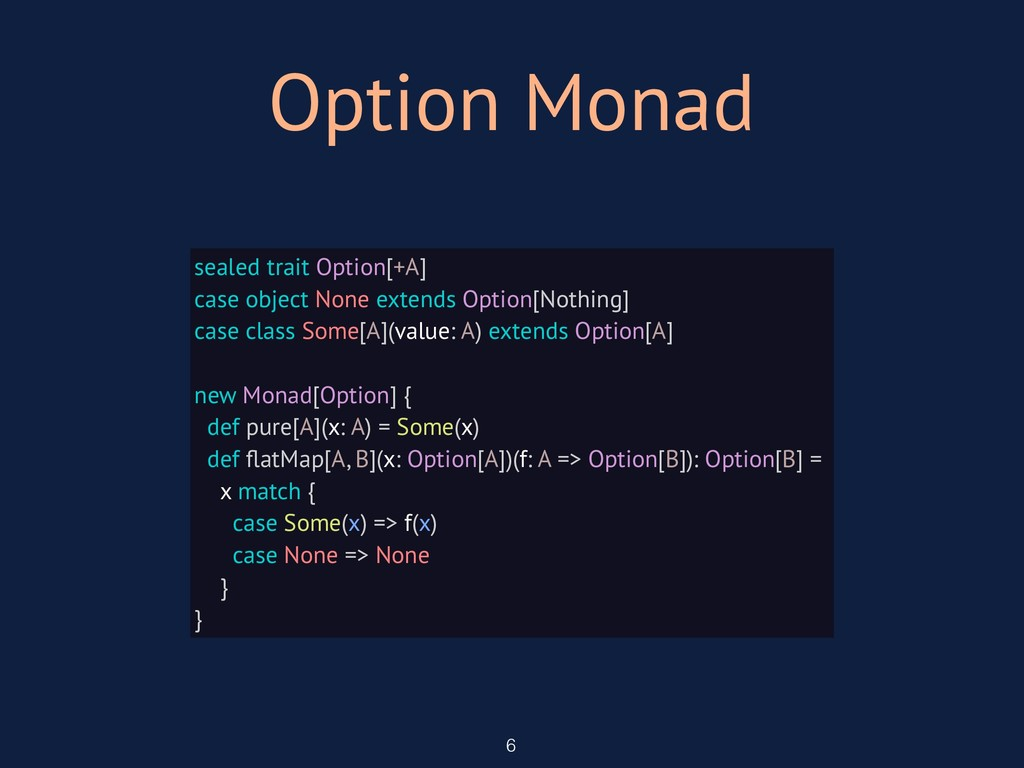 Option Monad 6 sealed trait Option[+A] case obj...