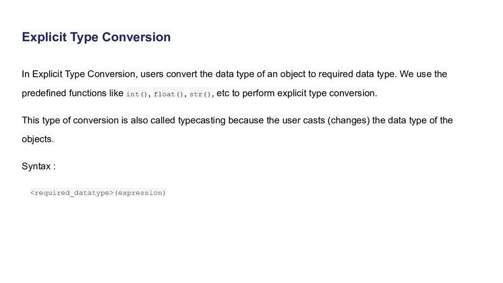 Explicit Type Conversion In Explicit Type Conve...