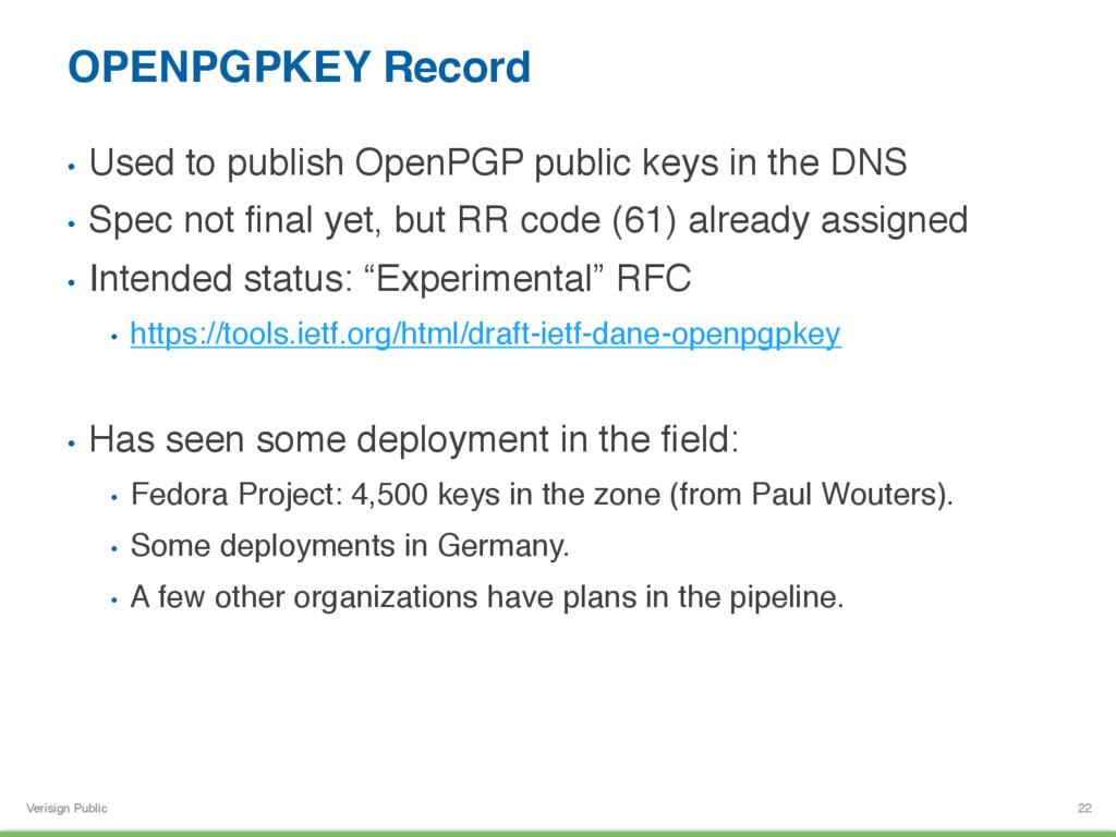 Verisign Public OPENPGPKEY Record • Used to pu...