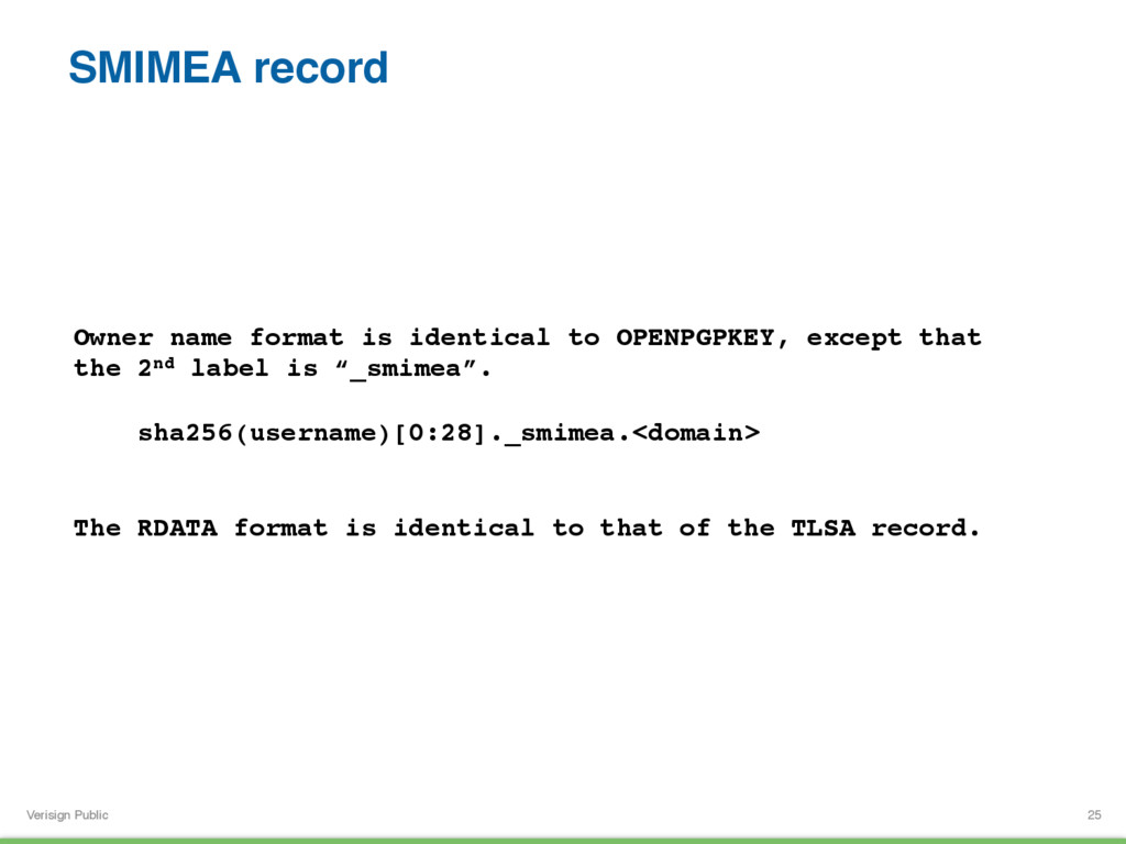 Verisign Public SMIMEA record 25 Owner name for...