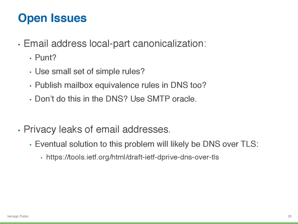 Verisign Public Open Issues • Email address lo...