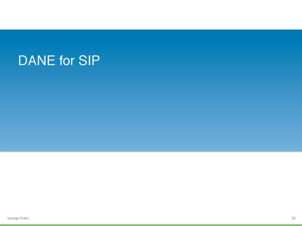 Verisign Public DANE for SIP 28