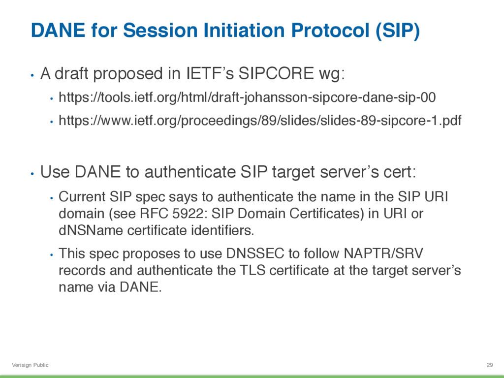 Verisign Public DANE for Session Initiation Pro...
