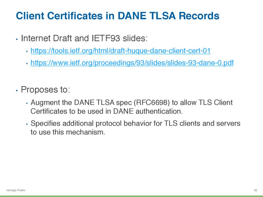 Verisign Public Client Certificates in DANE TLSA...