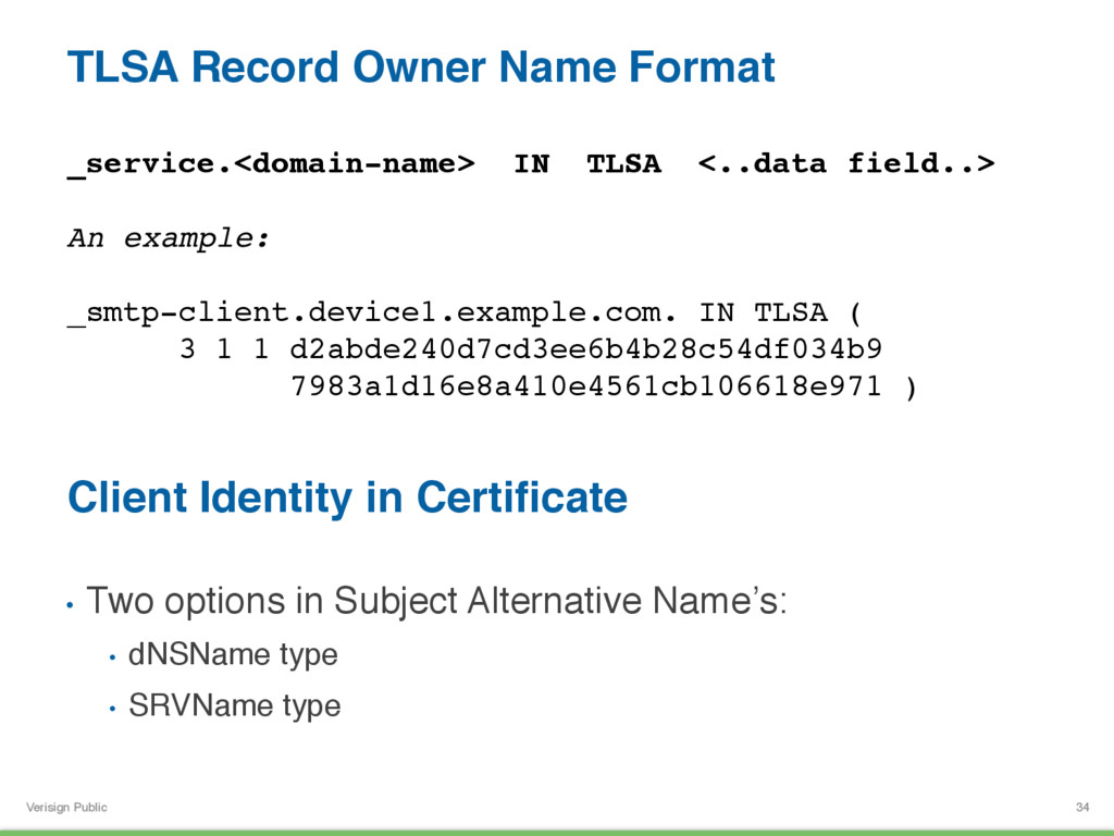Verisign Public TLSA Record Owner Name Format 3...