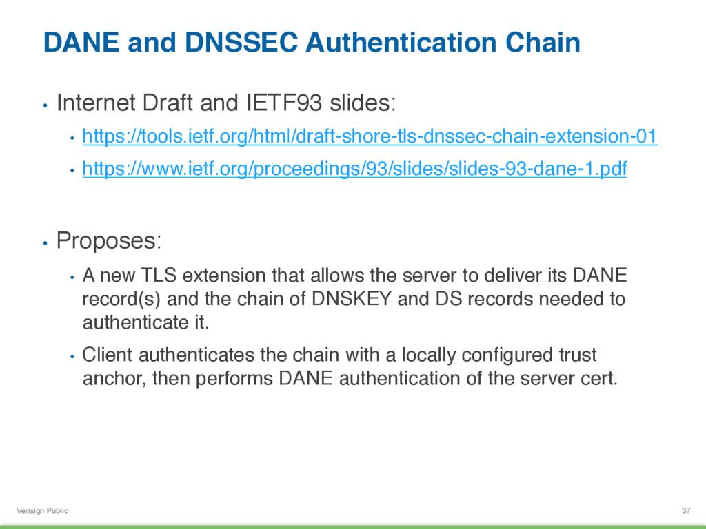 Verisign Public DANE and DNSSEC Authentication ...