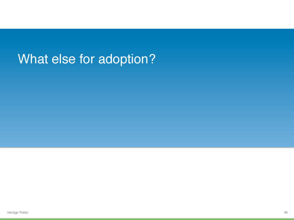 Verisign Public What else for adoption? 48